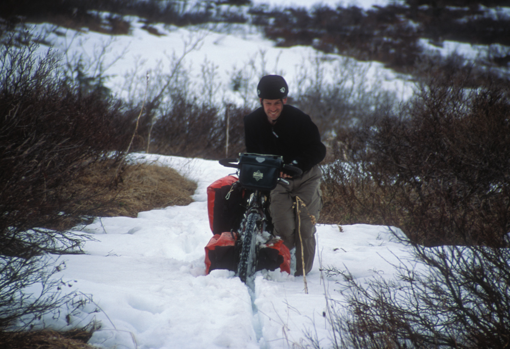 John, plowing the snow with the panniers.