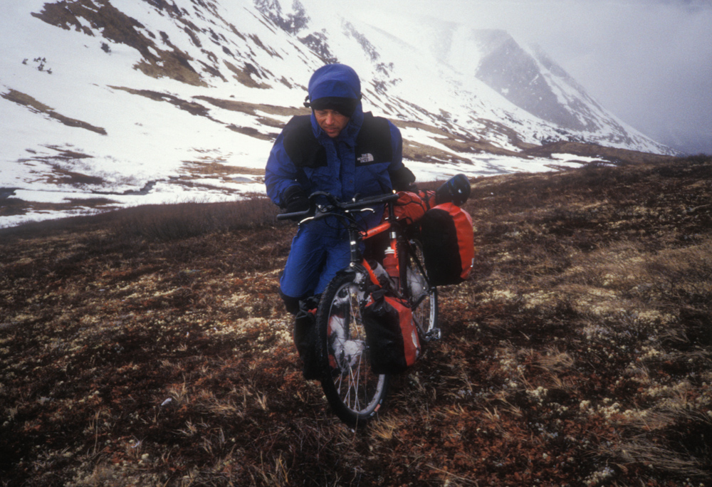 Pushing the bikes up to the pass became more difficult in the heavy winds.