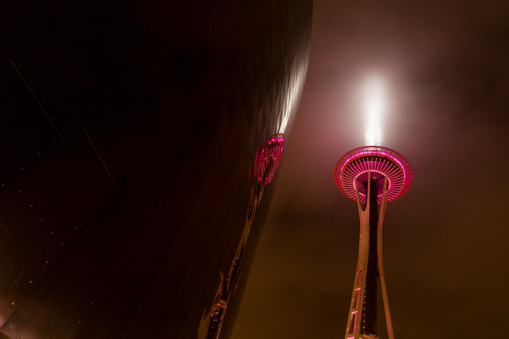Seattle Space Needle at night on New Year's Eve